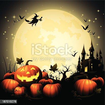 istock Halloween Pumpkin Pile - Haunted Castle 187015276