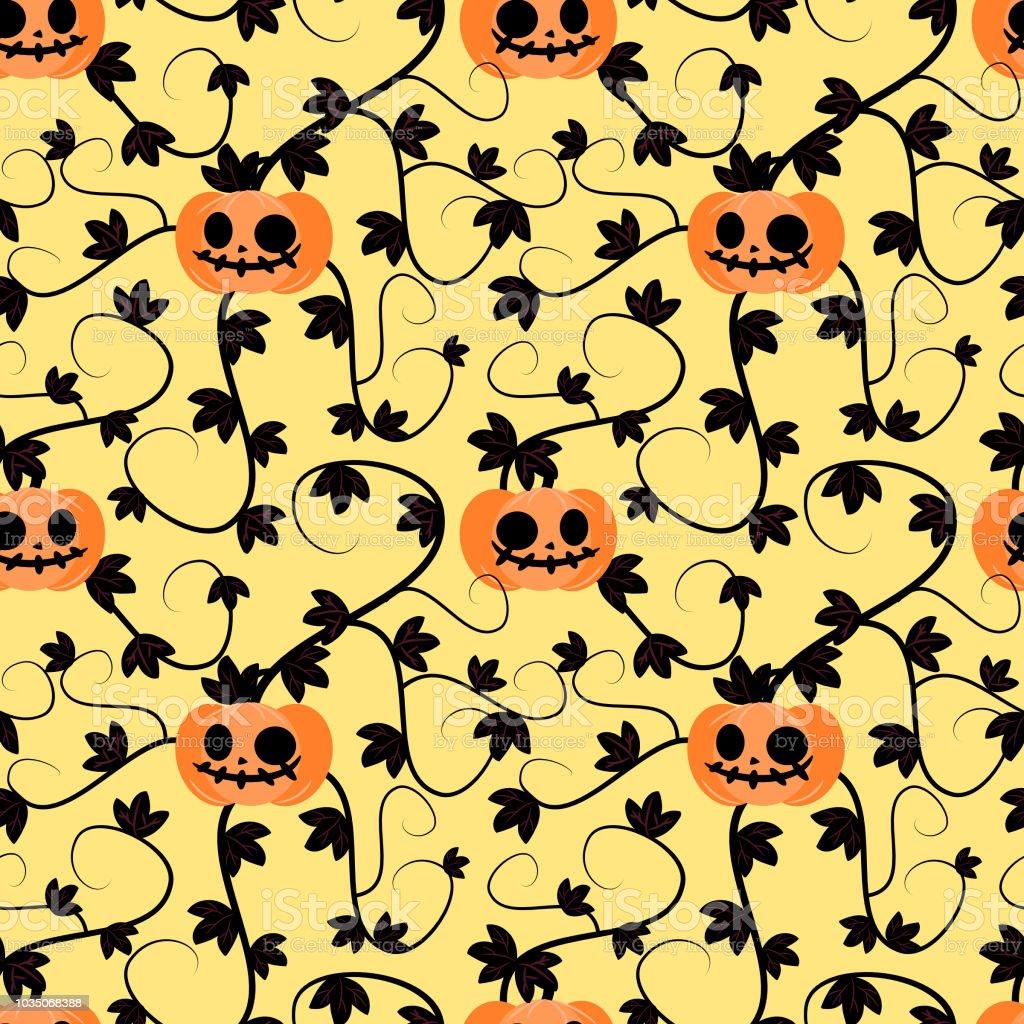 Halloween Kurbis Pflanze Musterdesign Stock Vektor Art Und Mehr