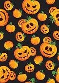 Halloween pumpkin seamless pattern on black background. Cute halloween pumpkin pattern background. Halloween theme design vector illustration