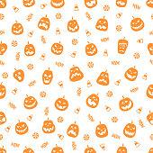 Halloween orange festive seamless pattern