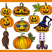 Scalable vectorial representing a Halloween pumpkin set digital elements, element for design, illustration isolated on white background.