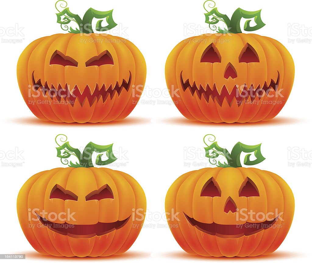 halloween pumpkin set vector art illustration