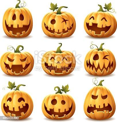 istock Halloween Pumpkin Set 485403390