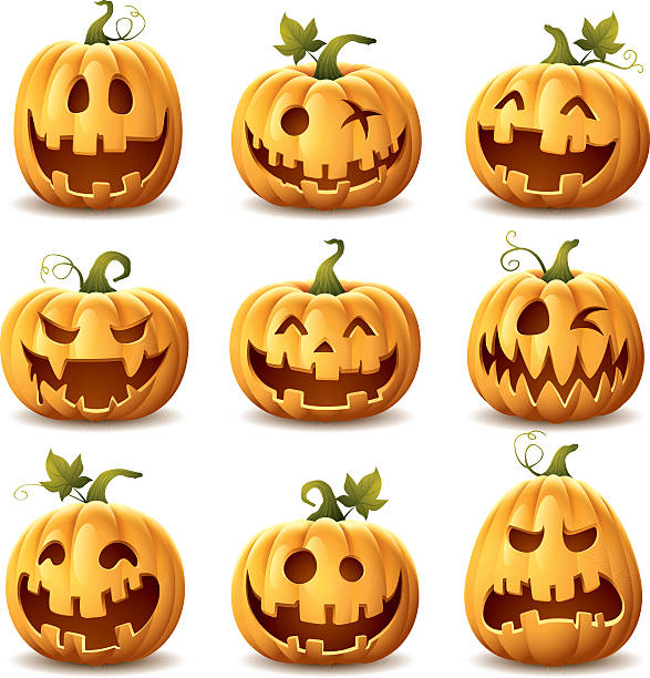 Halloween Pumpkin Set - halloween pumpkin set on white background pumpkin stock illustrations