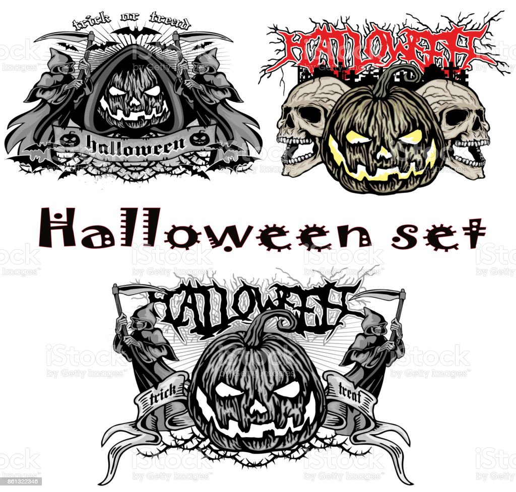 halloween pumpkin set vector art illustration