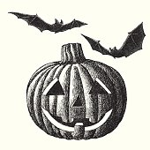Vector illustration of Jack O' Lantern and bats.