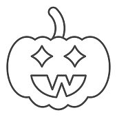 istock Halloween pumpkin thin line icon, halloween concept, jack lamp sign on white background, pumpkin with face icon in outline style for mobile concept and web design. Vector graphics. 1287147693