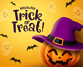Halloween pumpkin vector background. Halloween trick or treat greeting text with pumpkin, hat and empty space for message in scary  bat and ghost yellow background. Vector illustration