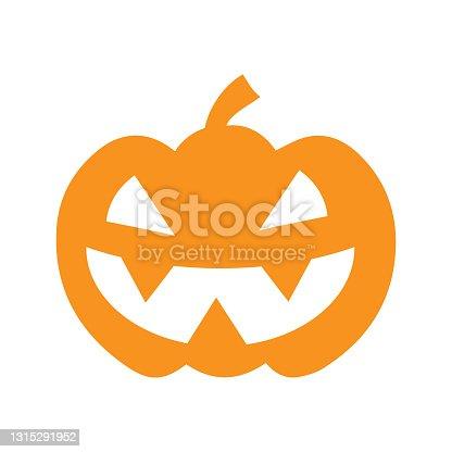 istock Halloween pumpkin vector icon illustration isolated on white   background. 1315291952