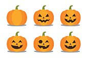 Halloween pumpkin character collection with expressions. Vector illustration