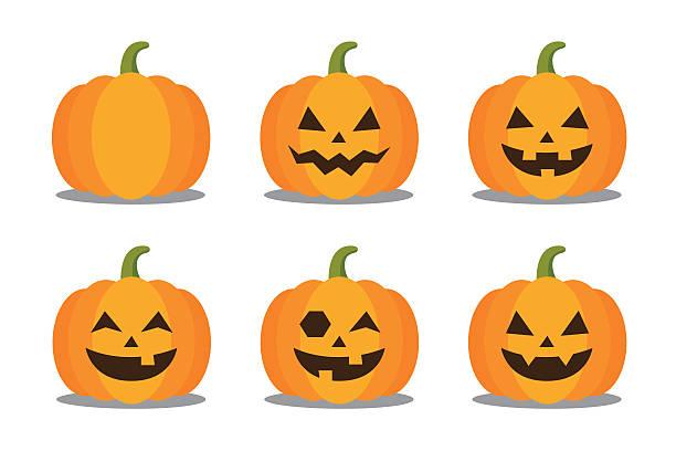 Halloween Pumpkin Halloween pumpkin character collection with expressions. Vector illustration pumpkin stock illustrations