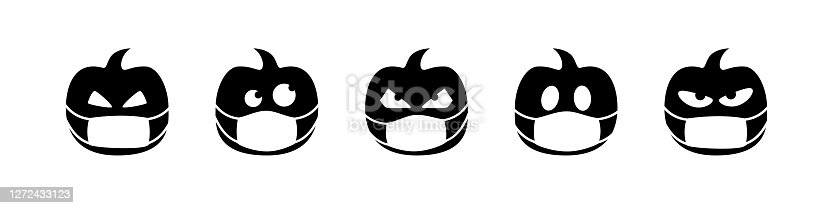 istock halloween pumpkin vector isolated in face mask. coronavirus quarantine. season greeting. black icon symbol sign white background october autumn. 1272433123