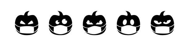 halloween pumpkin vector isolated in face mask. coronavirus quarantine. season greeting. black icon symbol sign white background october autumn. halloween pumpkin vector isolated in face mask. coronavirus quarantine. season greeting. black icon symbol sign on white background october autumn. halloween covid stock illustrations