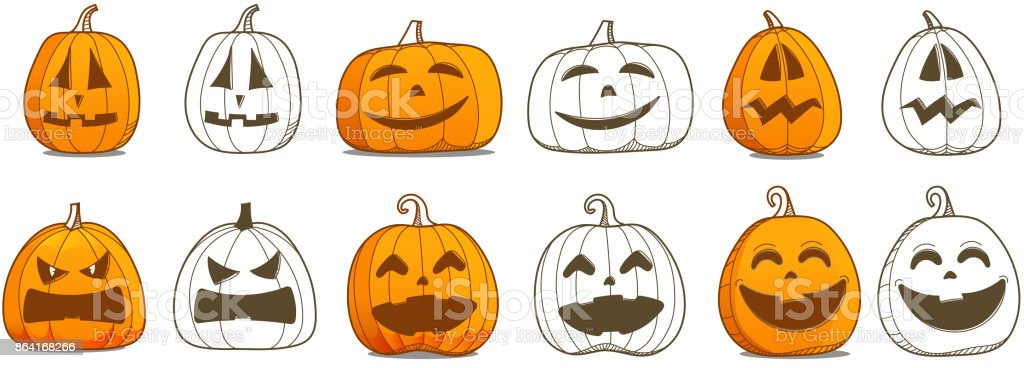 Halloween pumpkin vector set. Different pumpkins silhouettes vector collection royalty-free halloween pumpkin vector set different pumpkins silhouettes vector collection stock vector art & more images of autumn
