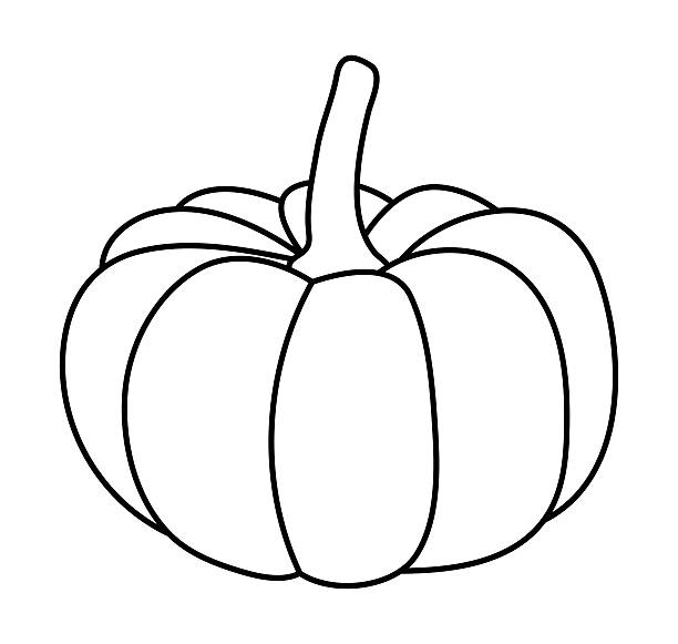 Cartoon of a Black and White Outlined Pumpkin - Royalty ... |Cartoon Black And White Pumkin