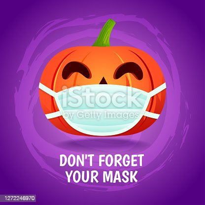 "istock Halloween pumpkin wear a mask, ""Don't Forget your mask "" vector illustration. Prevention of COVID-19 concept 1272246970"