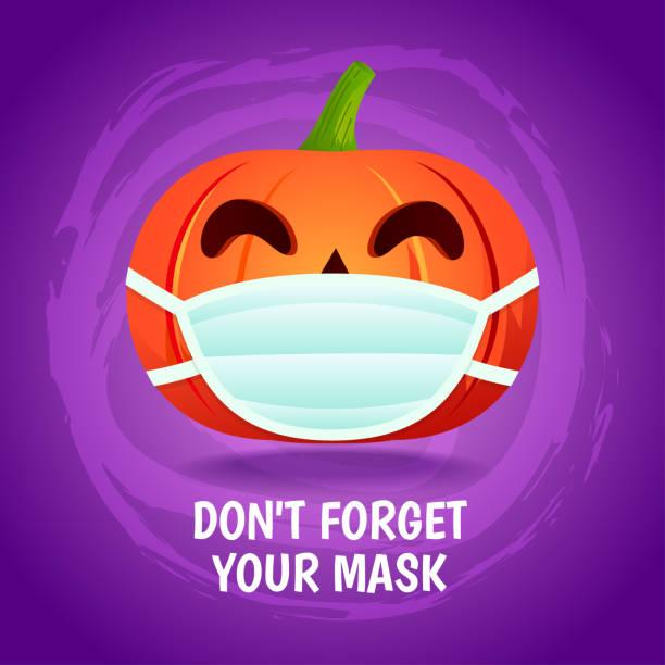Halloween pumpkin wear a mask,