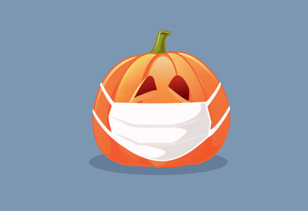 Halloween Pumpkin Wearing Medical Mask Vector Illustration Holidays during pandemic year concept drawing halloween covid stock illustrations
