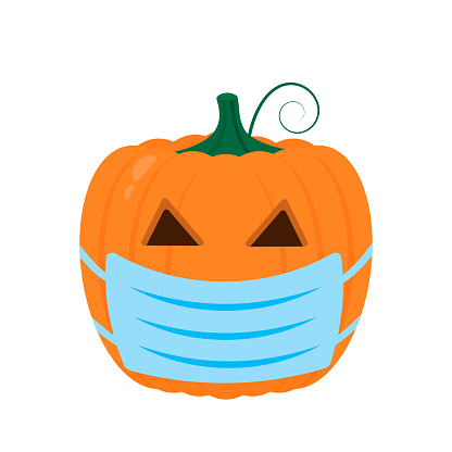 Halloween Pumpkin wearing protective mask icon isolated on white. Cute cartoon Jack-o'-Lantern. Coronavirus covid-19 pandemic. Halloween 2020 party decorations. Easy to edit vector template