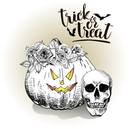 Halloween. Pumpkin wears floral crown. Vintage hand drawn illustration.
