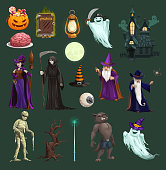 Halloween vector icons with pumpkin, ghost and bat, horror witch, hat and trick or treat candy, autumn holiday design. Death skeleton skull, moon and mummy, haunted house, werewolf and wizard