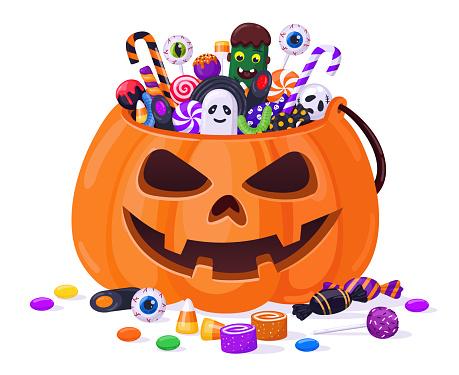 Halloween pumpkin with candies. Cartoon sweets pumpkin basket, lollipops, jelly treats and candy cane vector illustration. Pumpkin trick or treat bag
