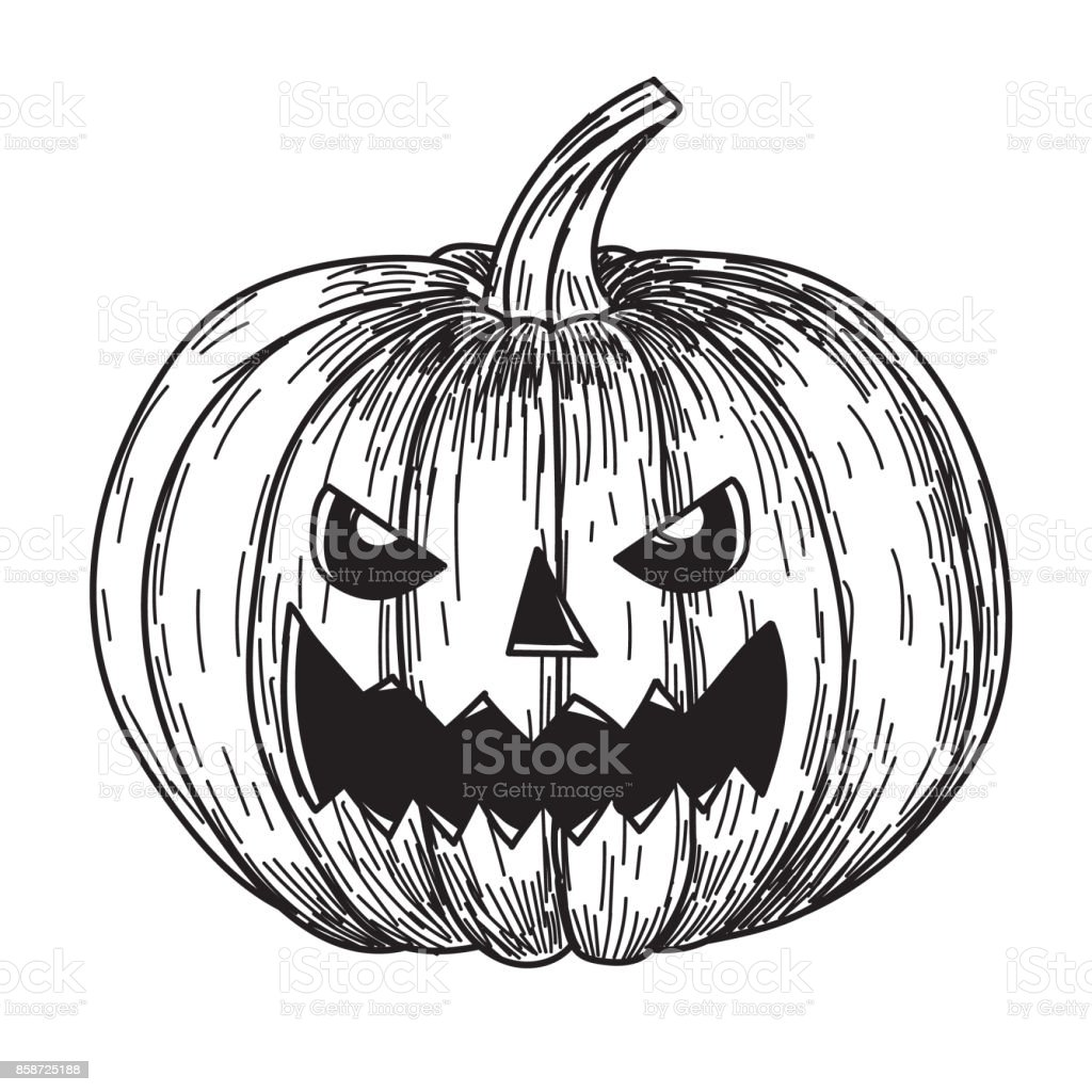 Halloween Pumpkin Drawing Picture.Halloween Pumpkin With Evil Scary Smile In Funny Hand Drawing Doodle
