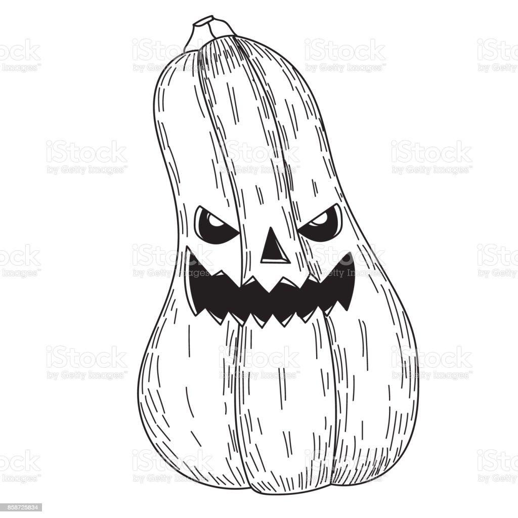 ilustração de abóbora de halloween com sorriso assustador mal em