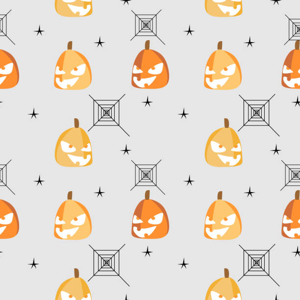 Halloween pumpkin with random web spider seamless pattern Halloween pumpkin with random web spider seamless pattern. vector illustration for fashion textile print and wrapping with festive design. tarantula stock illustrations