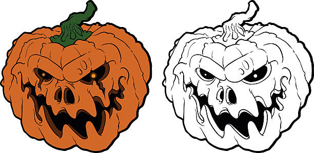 halloween pumpkin with scary face on white vector art illustration