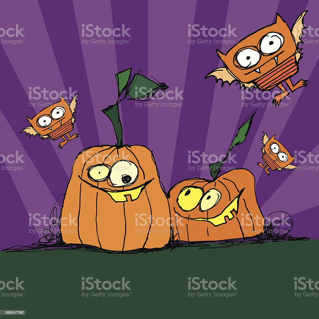 halloween pumpkins and bats royalty-free stock vector art