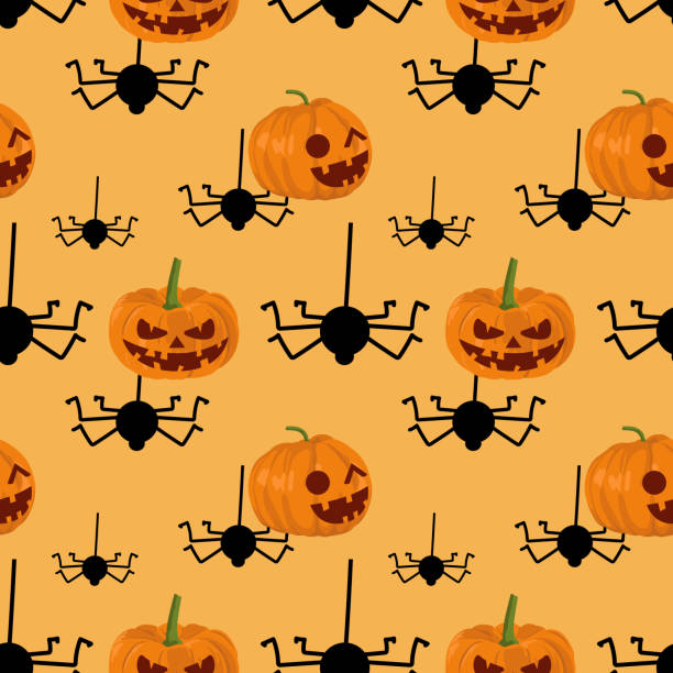 Halloween pumpkins and hanging spider cute seamless pattern Halloween pumpkins and hanging spider cute seamless pattern. vector illustration for fashion textile print and wrapping with festive design. tarantula stock illustrations