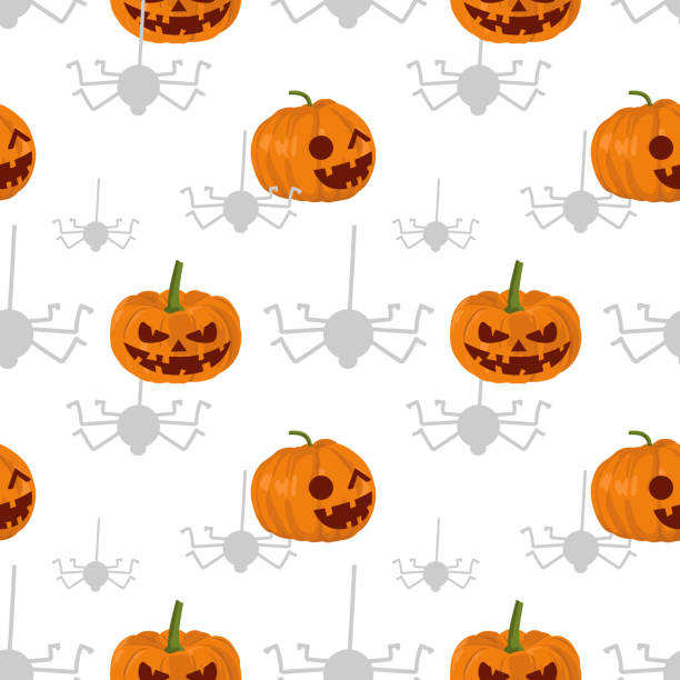Halloween pumpkins and hanging spider seamless pattern Halloween pumpkins and hanging spider seamless pattern. vector illustration for fashion textile print and wrapping with festive design. tarantula stock illustrations