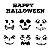 Collection of Halloween pumpkins carved faces silhouettes. Template with variety of eyes, mouths and noses for cut out jack o lantern. Funny zombie and skeleton monsters stencil set. Vector art