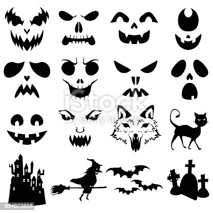 A vector illustration of Halloween Pumpkins Carved Silhouettes Template