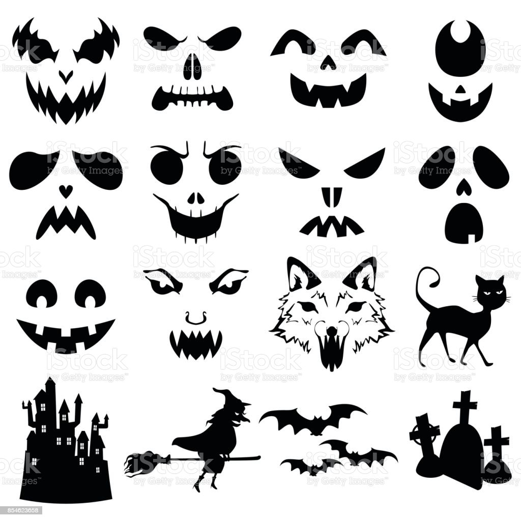 Halloween Pumpkins Carved Silhouettes Template vector art illustration