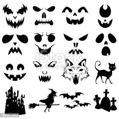 Ilustración de Tallado De Calabazas De Halloween Plantillas De ...