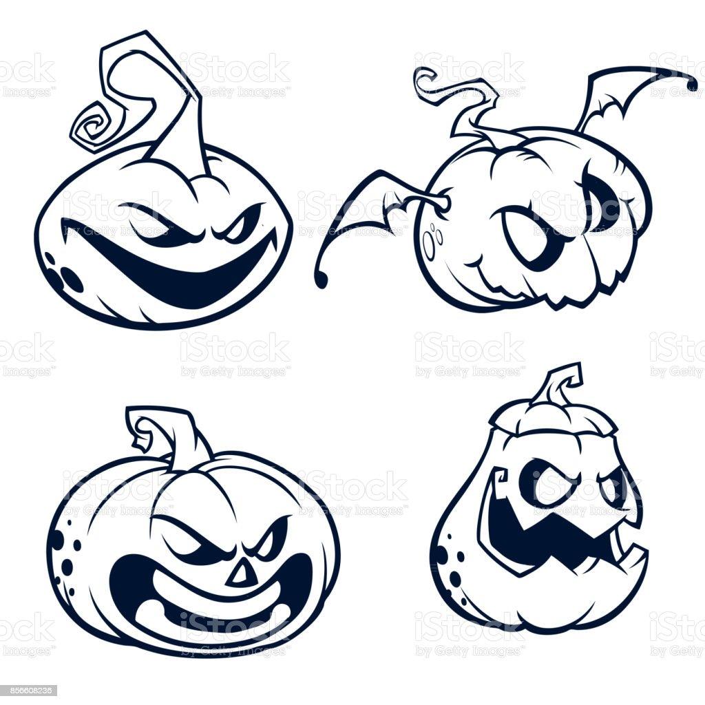 Dessin Visage Halloween.Citrouilles Halloween Courbe Avec Le Visage De Jack O Lantern Illustration De Vecteur De Dessin Anime Traits Et Contours Vecteurs Libres De Droits Et Plus D Images Vectorielles De Art Istock