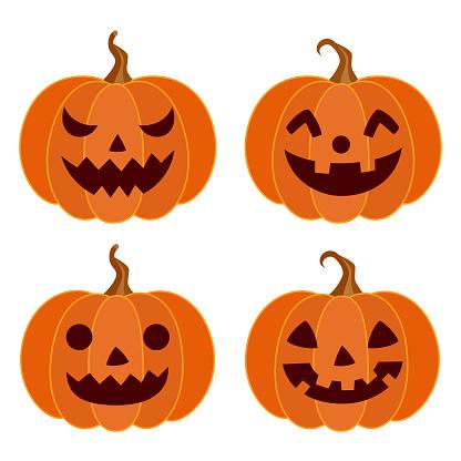Halloween pumpkins different faces set
