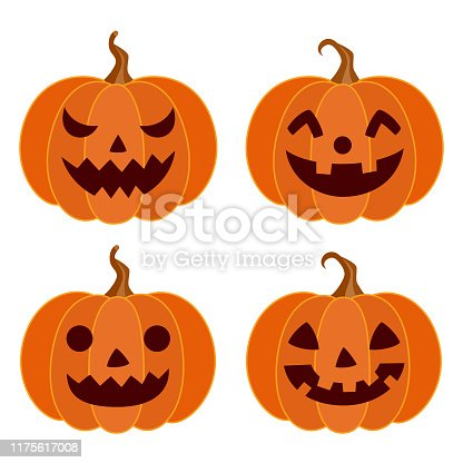 Halloween,holiday,decoration,pumpkin,face,set,vegetable,season,design,element,illustration