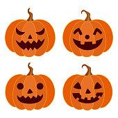 Halloween,holiday,decoration,pumpkin,face,set,vegetable,season,design,element,illustration