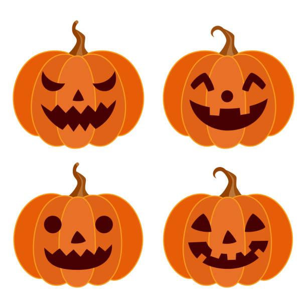 Halloween pumpkins different faces set Halloween,holiday,decoration,pumpkin,face,set,vegetable,season,design,element,illustration pumpkin stock illustrations