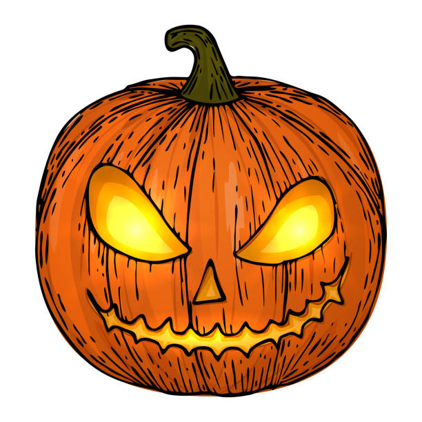 royalty free background of the scary jack o lantern face clip art