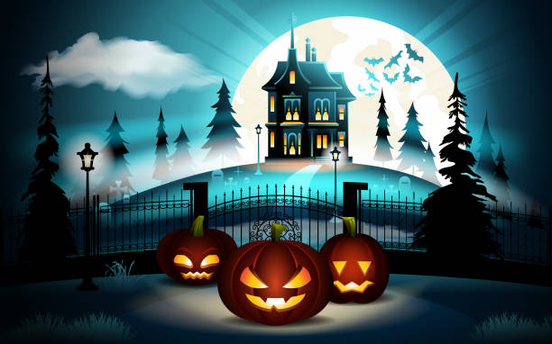 Halloween pumpkins in graveyard and dark castle on blue Moon background, illustration. Halloween pumpkins in graveyard and dark castle on blue Moon background, illustration scary halloween scene silhouettes stock illustrations