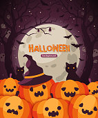 Halloween pumpkins. Vector illustration. Ghost, black cat and bats. Pumpkin in witch hat, Jack o lanterns. Full Moon Night in Spooky Forest.