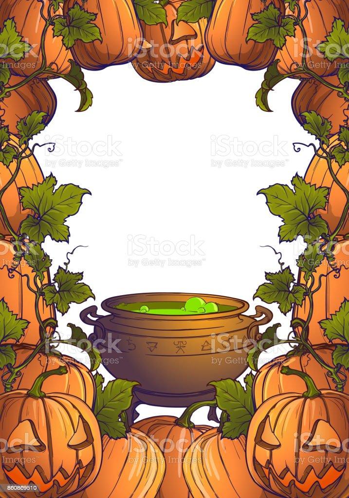 Calabazas De Halloween Jack Linterna Y Caldero Con Poción Mágica ...