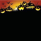 Halloween Pumpkins on a moon lit horizon. Plenty of copy space. Illustrator CS3 • Illustrator 10.0 eps.• Xlarge hires jpeg