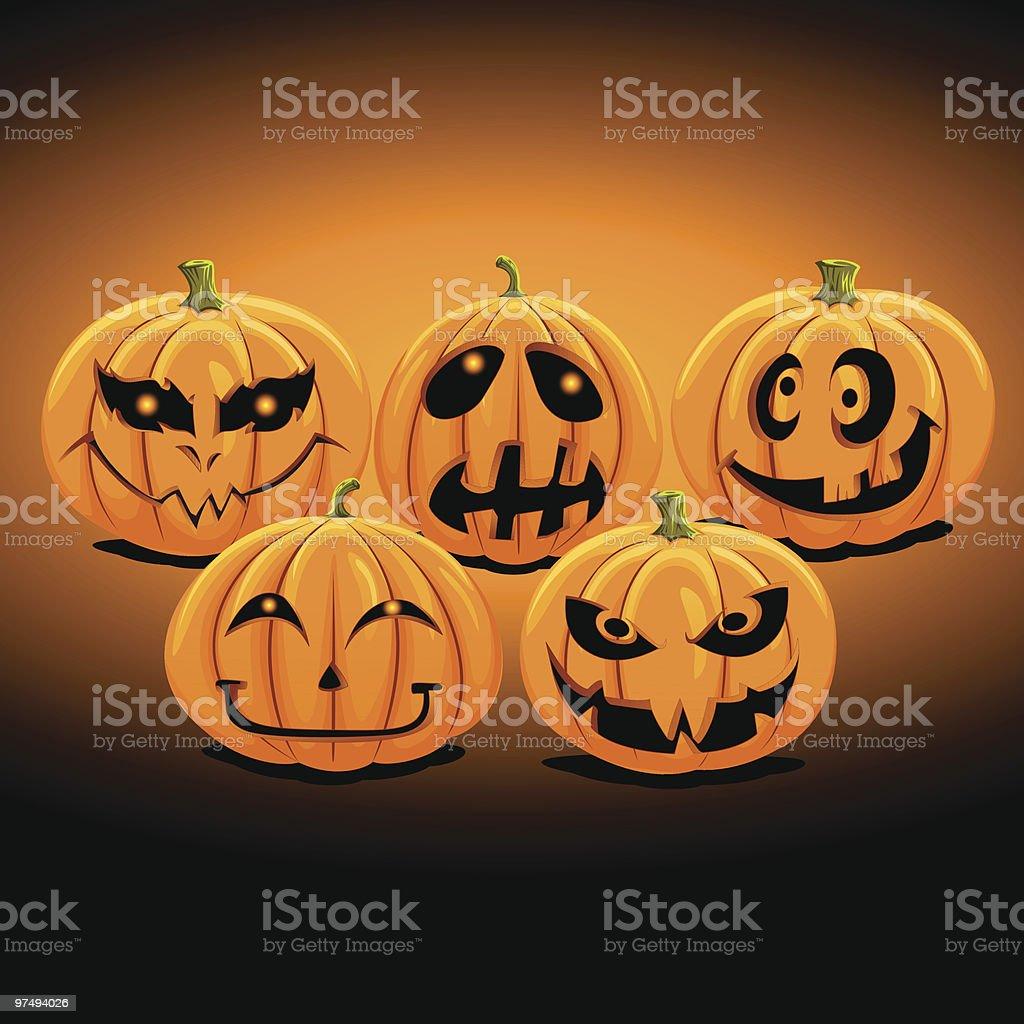 Halloween Pumpkins Set 2 royalty-free halloween pumpkins set 2 stock vector art & more images of anthropomorphic smiley face