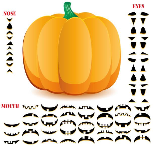 Halloween pumpkins set, part 1 vector art illustration
