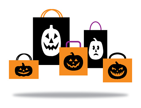Halloween Pumpkins Shopping Bags With Shadow